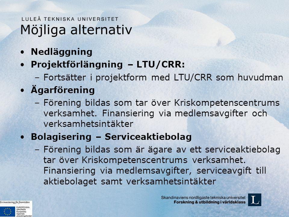 Möjliga alternativ Nedläggning Projektförlängning – LTU/CRR: –Fortsätter i projektform med LTU/CRR som huvudman Ägarförening –Förening bildas som tar över Kriskompetenscentrums verksamhet.