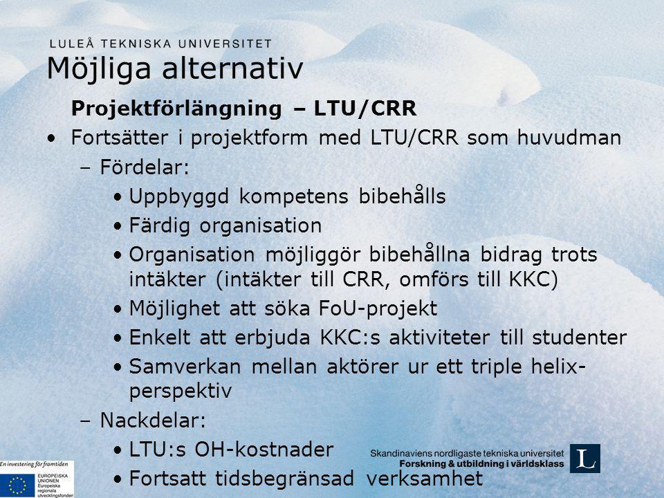 Möjliga alternativ Projektförlängning – LTU/CRR Fortsätter i projektform med LTU/CRR som huvudman –Fördelar: Uppbyggd kompetens bibehålls Färdig organisation Organisation möjliggör bibehållna bidrag trots intäkter (intäkter till CRR, omförs till KKC) Möjlighet att söka FoU-projekt Enkelt att erbjuda KKC:s aktiviteter till studenter Samverkan mellan aktörer ur ett triple helix- perspektiv –Nackdelar: LTU:s OH-kostnader Fortsatt tidsbegränsad verksamhet
