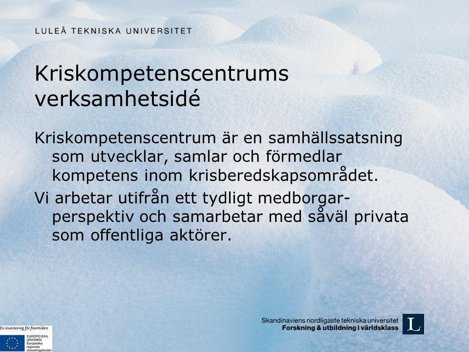 Utveckla, samla och förmedla kompetens Verksamheten vilar på 3 ben: Forskning och utveckling Utbildning och övning Affärsutveckling