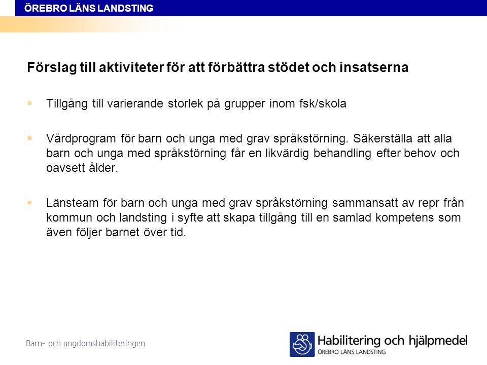 ÖREBRO LÄNS LANDSTING Barn- och ungdomshabiliteringen Förslag till Riktlinje för utredning, diagnostik, behandling och stöd till barn och unga 0 – 18 år med språkstörning i Örebro län
