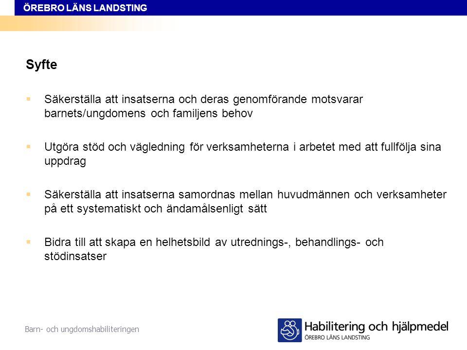 ÖREBRO LÄNS LANDSTING Barn- och ungdomshabiliteringen Mål Barn och unga med språkstörning bosatta i Örebro län ska, utifrån sina individuella behov, erbjudas samordnade insatser av god kvalitet, så att de tillförsäkras en uppväxt på lika villkor.