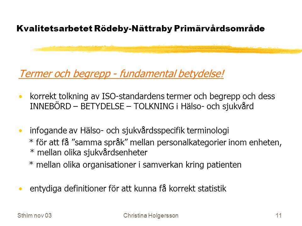 Sthlm nov 03Christina Holgersson11 Kvalitetsarbetet Rödeby-Nättraby Primärvårdsområde Termer och begrepp - fundamental betydelse.