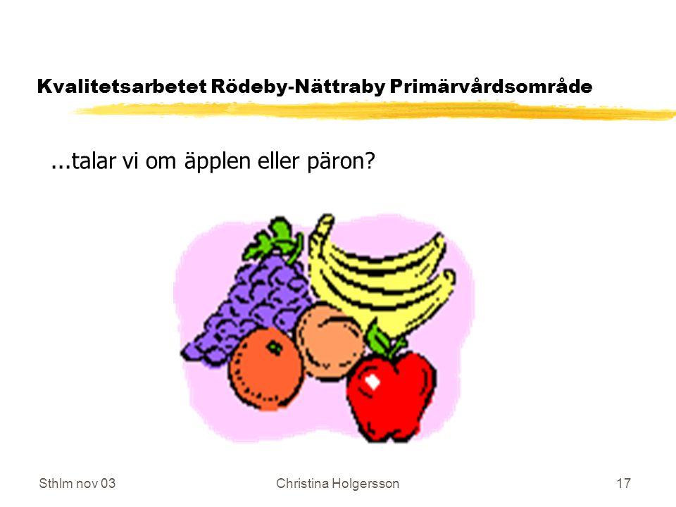 Sthlm nov 03Christina Holgersson17 Kvalitetsarbetet Rödeby-Nättraby Primärvårdsområde...talar vi om äpplen eller päron