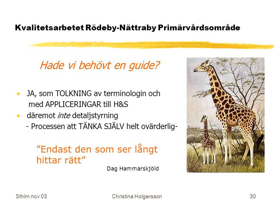 Sthlm nov 03Christina Holgersson30 Kvalitetsarbetet Rödeby-Nättraby Primärvårdsområde Hade vi behövt en guide.