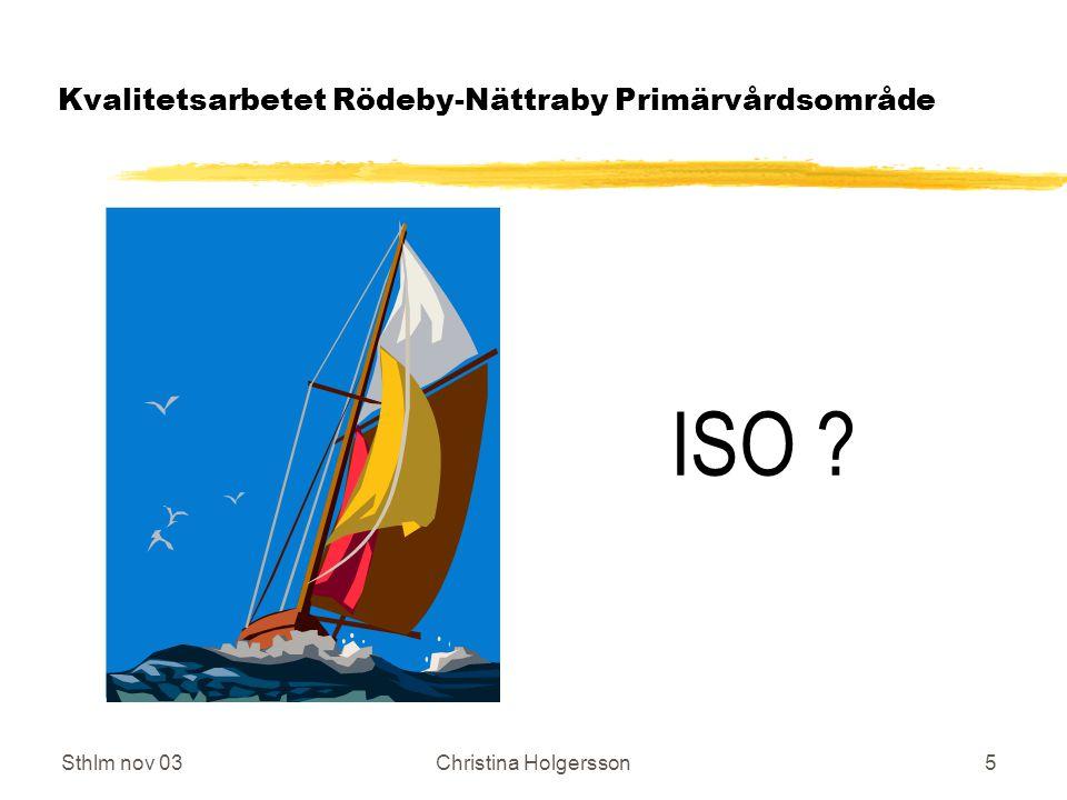Sthlm nov 03Christina Holgersson6 Kvalitetsarbetet Rödeby-Nättraby Primärvårdsområde Vad är ett kvalitetsledningssystem enligt ISO.