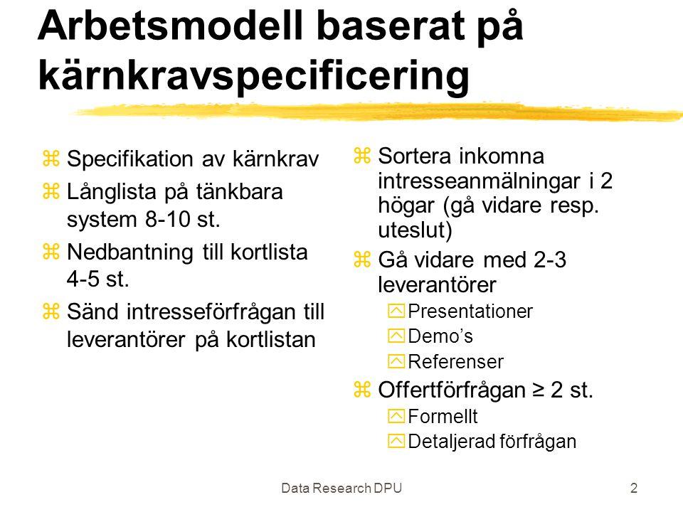 Data Research DPU2 Arbetsmodell baserat på kärnkravspecificering zSpecifikation av kärnkrav zLånglista på tänkbara system 8-10 st. zNedbantning till k