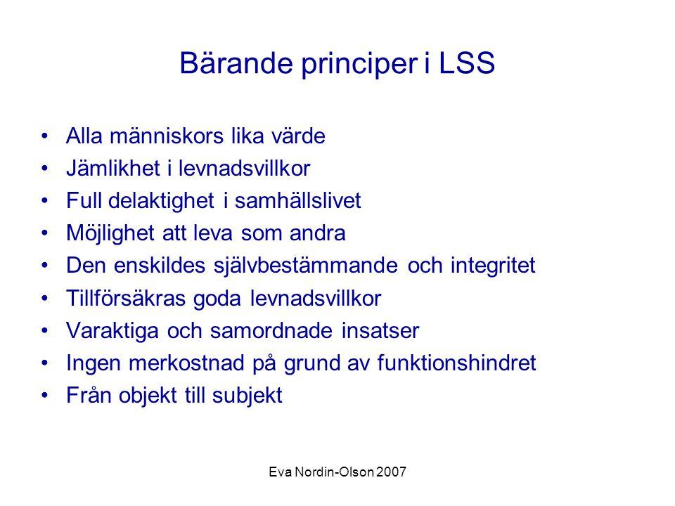 Eva Nordin-Olson 2007 Bärande principer i LSS Alla människors lika värde Jämlikhet i levnadsvillkor Full delaktighet i samhällslivet Möjlighet att lev