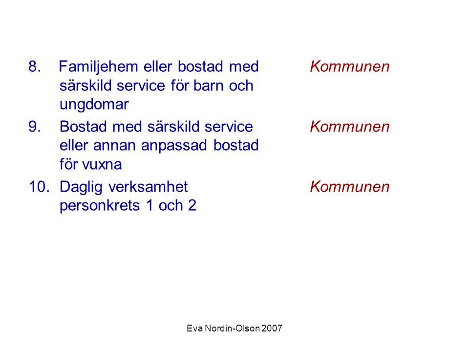 Eva Nordin-Olson 2007 8. Familjehem eller bostad medKommunen särskild service för barn och ungdomar 9.Bostad med särskild service Kommunen eller annan
