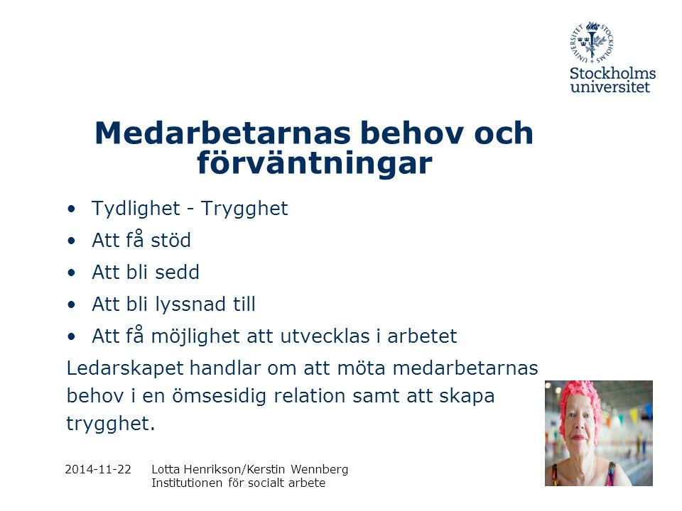 2014-11-22Lotta Henrikson/Kerstin Wennberg Institutionen för socialt arbete Medarbetarnas behov och förväntningar Tydlighet - Trygghet Att få stöd Att