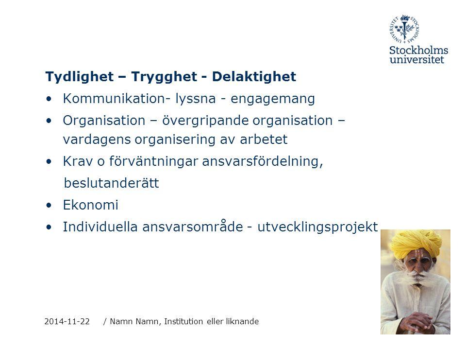 2014-11-22/ Namn Namn, Institution eller liknande Tydlighet – Trygghet - Delaktighet Kommunikation- lyssna - engagemang Organisation – övergripande or