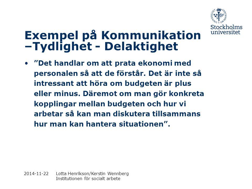 """2014-11-22Lotta Henrikson/Kerstin Wennberg Institutionen för socialt arbete Exempel på Kommunikation –Tydlighet - Delaktighet """"Det handlar om att prat"""