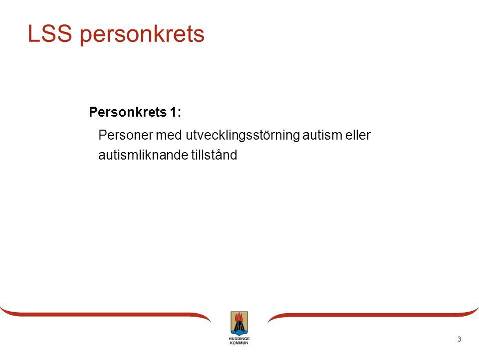 3 LSS personkrets Personkrets 1: Personer med utvecklingsstörning autism eller autismliknande tillstånd