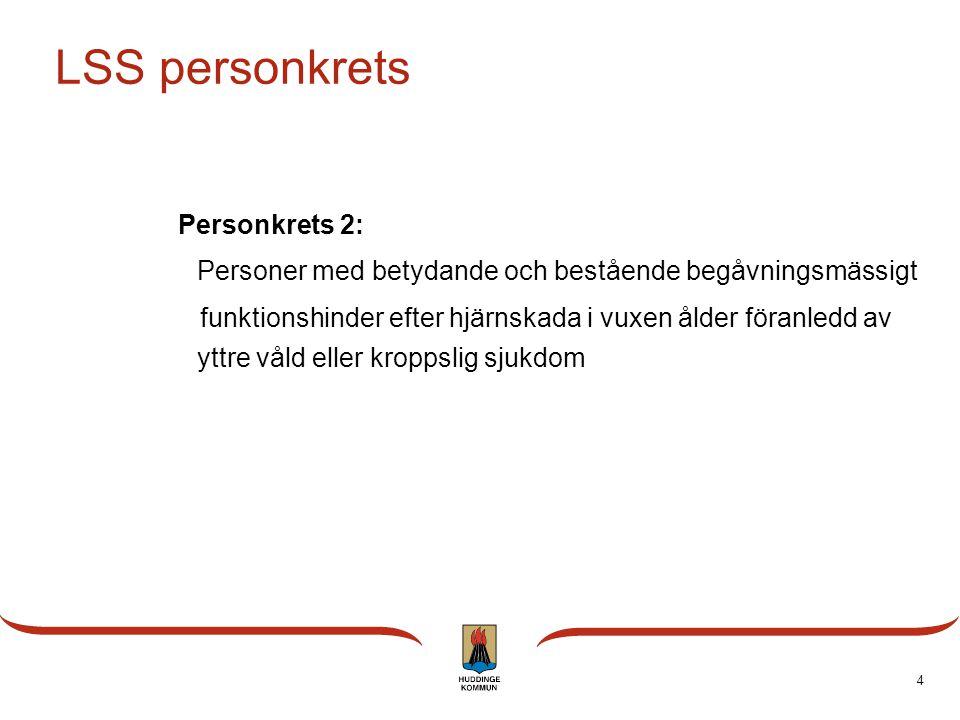 4 LSS personkrets Personkrets 2: Personer med betydande och bestående begåvningsmässigt funktionshinder efter hjärnskada i vuxen ålder föranledd av yt
