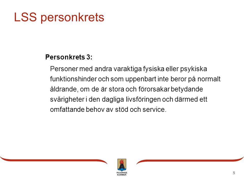5 LSS personkrets Personkrets 3: Personer med andra varaktiga fysiska eller psykiska funktionshinder och som uppenbart inte beror på normalt åldrande,
