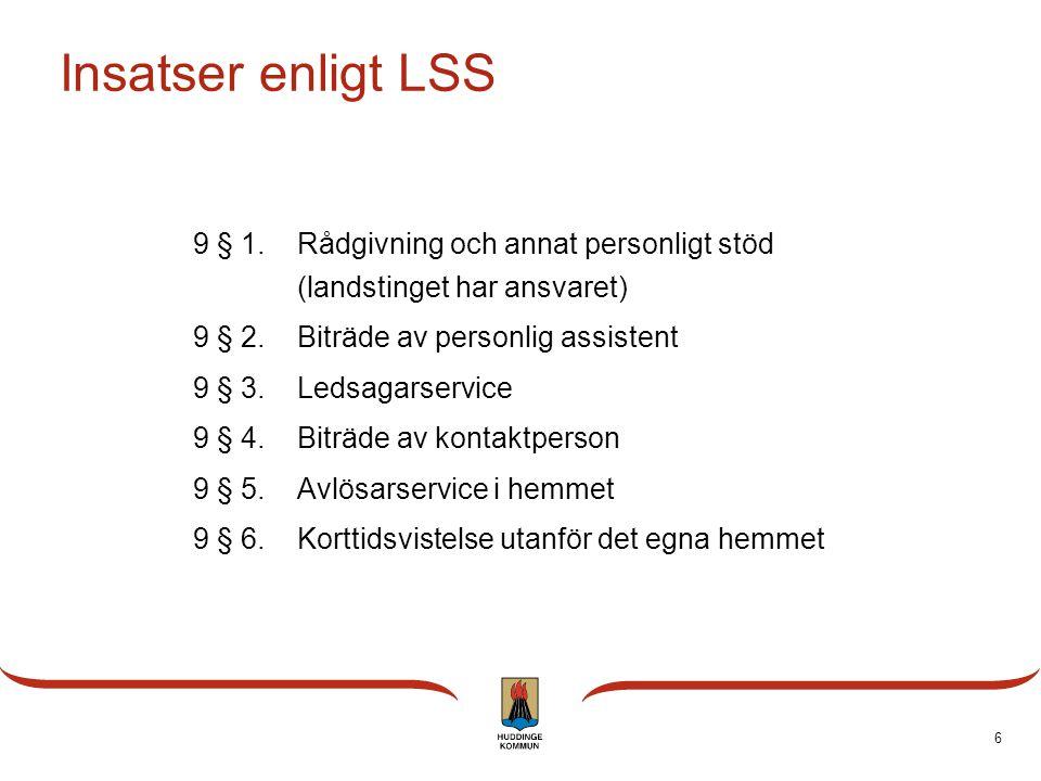 6 Insatser enligt LSS 9 § 1.Rådgivning och annat personligt stöd (landstinget har ansvaret) 9 § 2.Biträde av personlig assistent 9 § 3.Ledsagarservice
