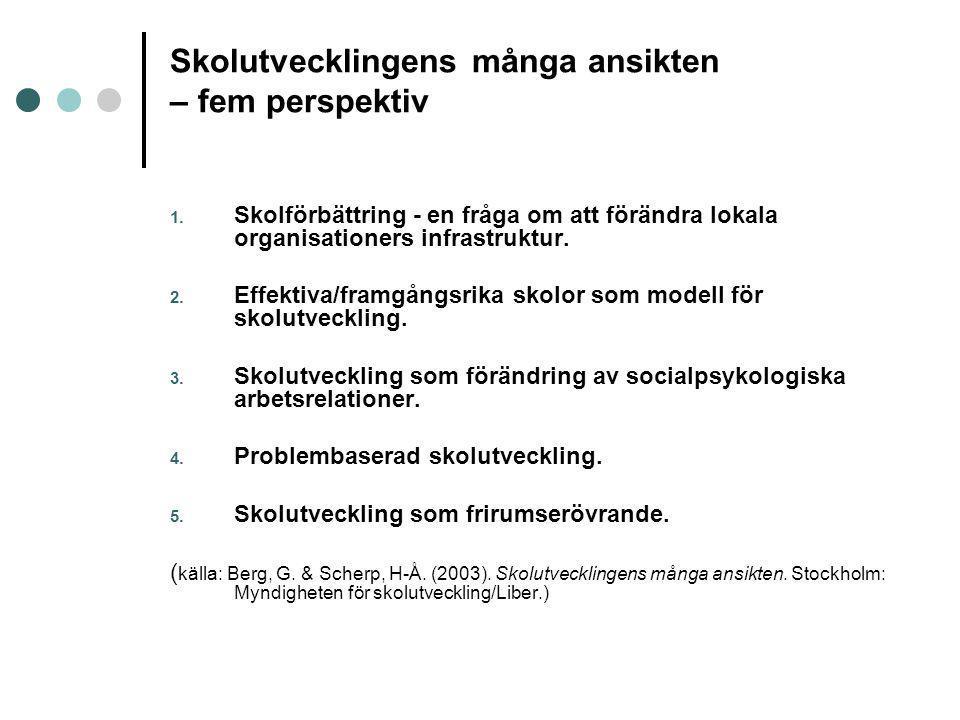 Skolutvecklingens många ansikten – fem perspektiv 1. Skolförbättring - en fråga om att förändra lokala organisationers infrastruktur. 2. Effektiva/fra