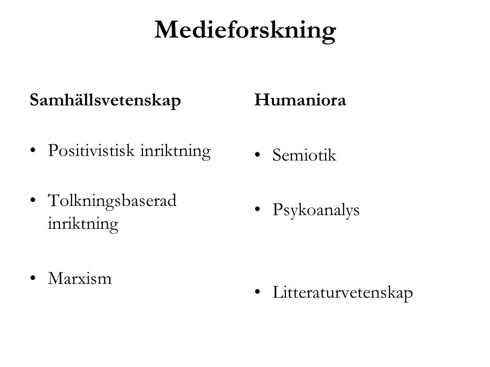 Medieforskning Samhällsvetenskap Positivistisk inriktning Tolkningsbaserad inriktning Marxism Humaniora Semiotik Psykoanalys Litteraturvetenskap