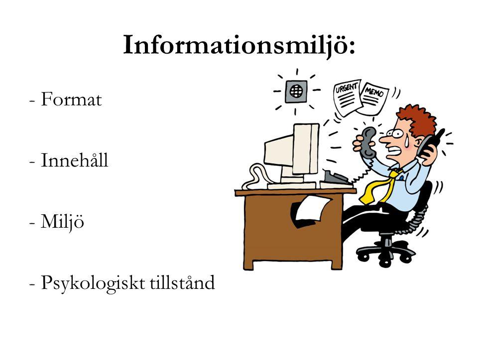 Informationsmiljö: - Format - Innehåll - Miljö - Psykologiskt tillstånd