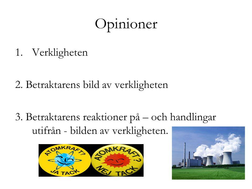 Opinioner 1.Verkligheten 2. Betraktarens bild av verkligheten 3. Betraktarens reaktioner på – och handlingar utifrån - bilden av verkligheten.