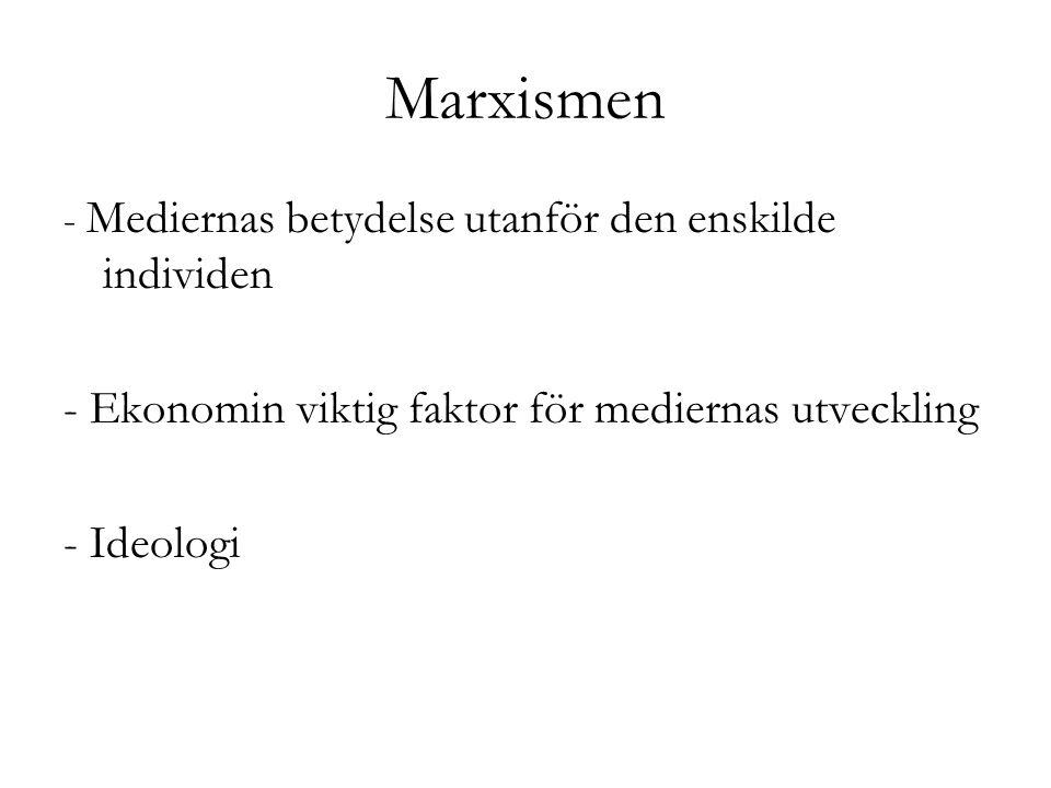Marxismen - Mediernas betydelse utanför den enskilde individen - Ekonomin viktig faktor för mediernas utveckling - Ideologi