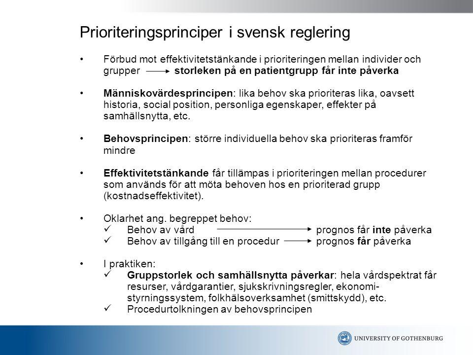 Prioriteringsprinciper i svensk reglering Förbud mot effektivitetstänkande i prioriteringen mellan individer och grupper storleken på en patientgrupp får inte påverka Människovärdesprincipen: lika behov ska prioriteras lika, oavsett historia, social position, personliga egenskaper, effekter på samhällsnytta, etc.