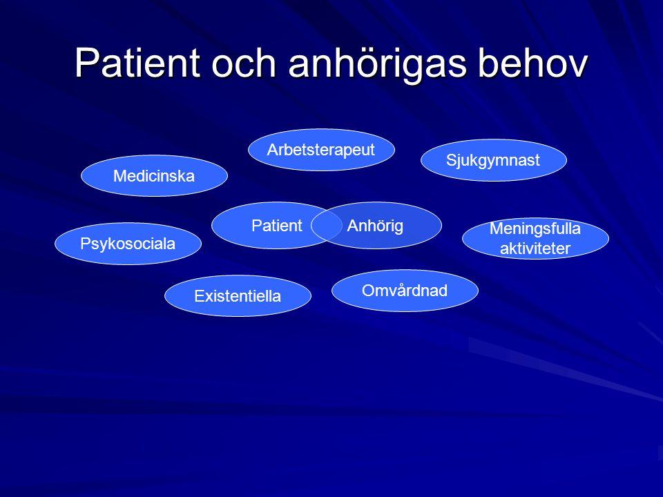 Patient och anhörigas behov PatientAnhörig Medicinska Sjukgymnast Arbetsterapeut Existentiella Omvårdnad Meningsfulla aktiviteter Psykosociala