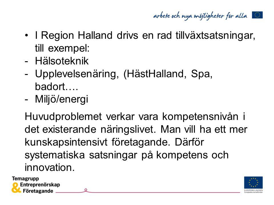 I Region Halland drivs en rad tillväxtsatsningar, till exempel: -Hälsoteknik -Upplevelsenäring, (HästHalland, Spa, badort…. -Miljö/energi Huvudproblem