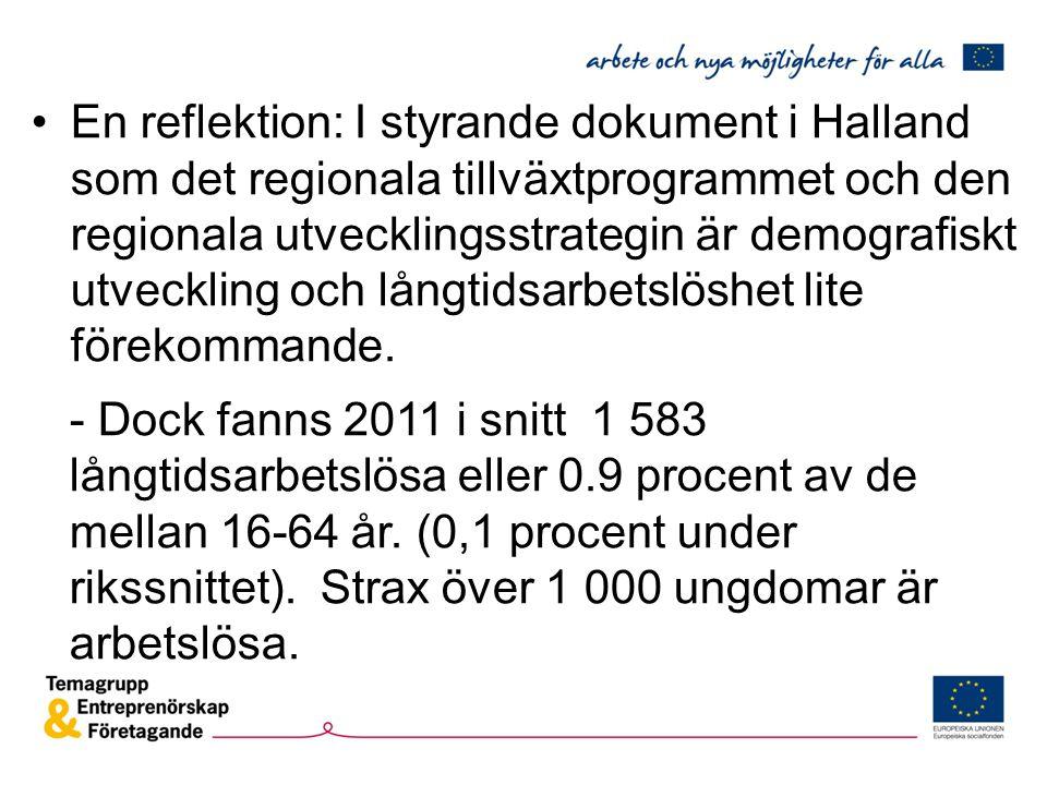 En reflektion: I styrande dokument i Halland som det regionala tillväxtprogrammet och den regionala utvecklingsstrategin är demografiskt utveckling och långtidsarbetslöshet lite förekommande.