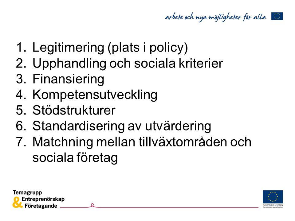 1.Legitimering (plats i policy) 2.Upphandling och sociala kriterier 3.Finansiering 4.Kompetensutveckling 5.Stödstrukturer 6.Standardisering av utvärdering 7.Matchning mellan tillväxtområden och sociala företag