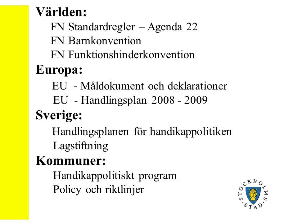 Världen: FN Standardregler – Agenda 22 FN Barnkonvention FN Funktionshinderkonvention Europa: EU - Måldokument och deklarationer EU - Handlingsplan 20