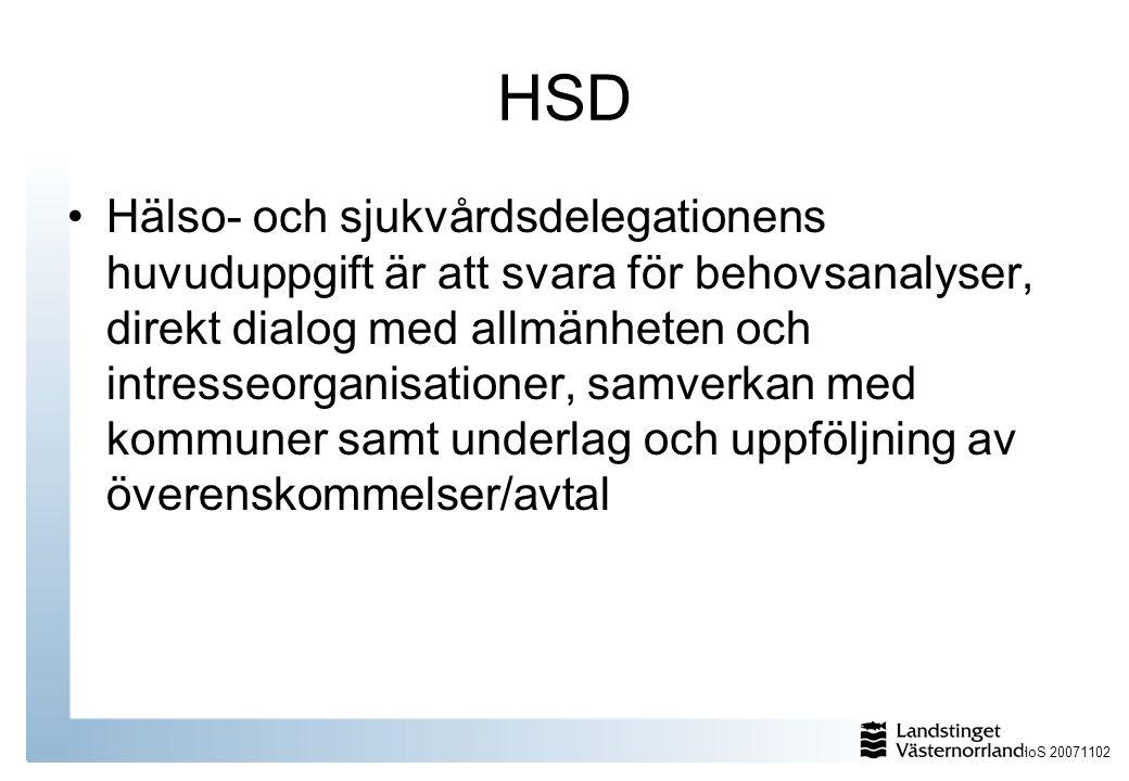 HoS 20071102 HSD Hälso- och sjukvårdsdelegationens huvuduppgift är att svara för behovsanalyser, direkt dialog med allmänheten och intresseorganisationer, samverkan med kommuner samt underlag och uppföljning av överenskommelser/avtal