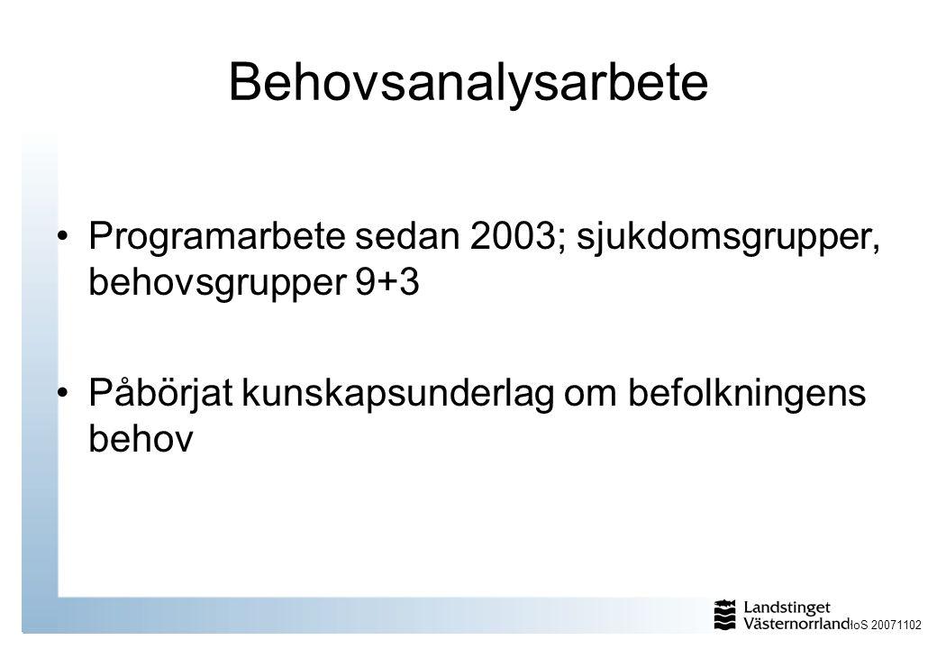 HoS 20071102 Behovsanalysarbete Programarbete sedan 2003; sjukdomsgrupper, behovsgrupper 9+3 Påbörjat kunskapsunderlag om befolkningens behov