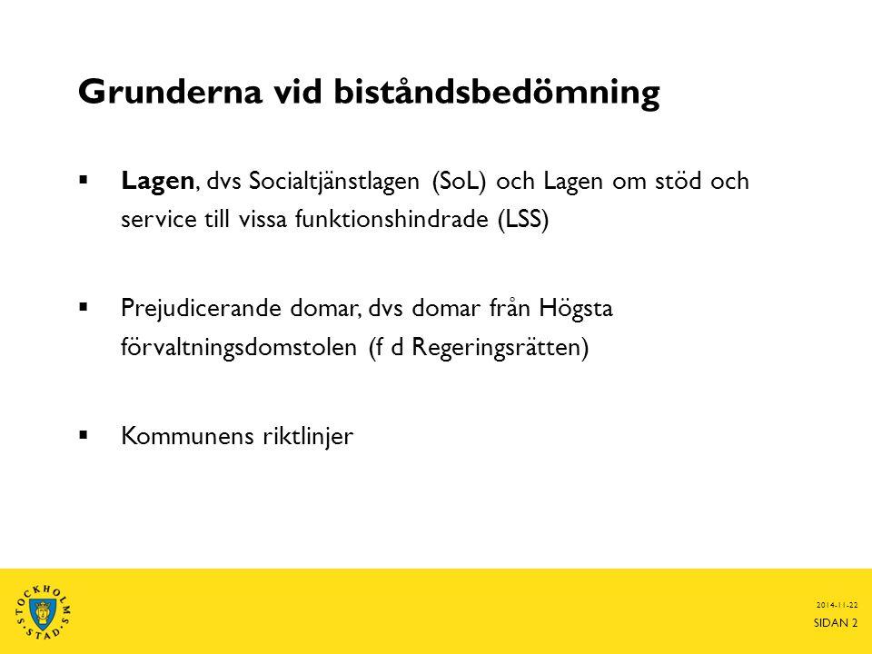 Vägen fram till stöd från kommunen  Den enskilde träffar biståndsbedömaren  Ansökan  Utredning 2014-11-22 SIDAN 3