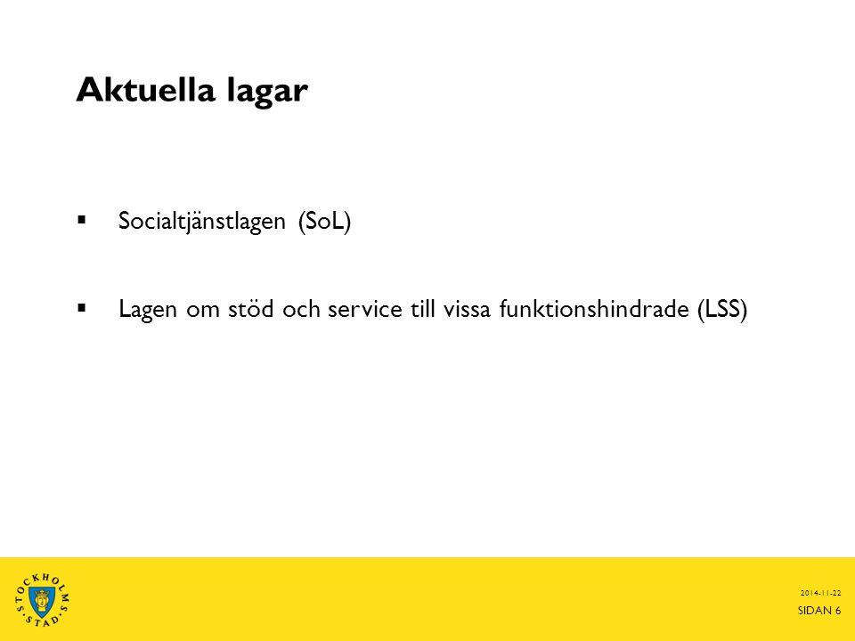 Aktuella lagar  Socialtjänstlagen (SoL)  Lagen om stöd och service till vissa funktionshindrade (LSS) 2014-11-22 SIDAN 6