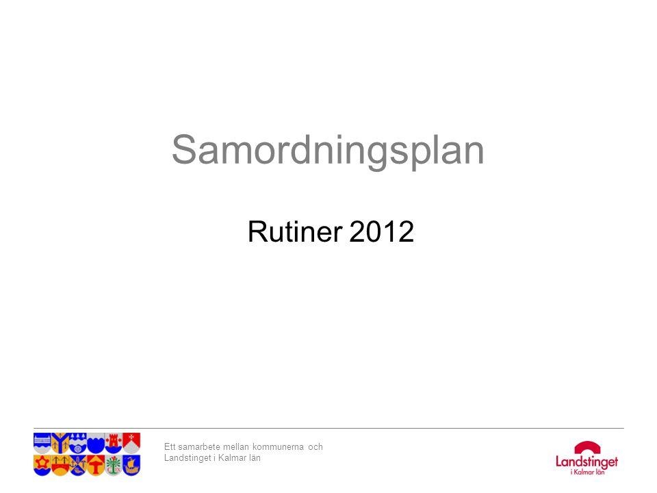 Ett samarbete mellan kommunerna och Landstinget i Kalmar län SOSFS 2007:10 Inklusive ändringar i SOSFS 2008:20 Samordning av insatser för habilitering och rehabilitering med andra insatser inom Hälso- och sjukvården, LSS, Socialtjänsten och tandvården