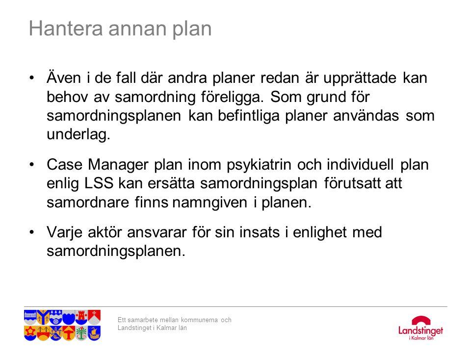 Ett samarbete mellan kommunerna och Landstinget i Kalmar län Hantera annan plan Även i de fall där andra planer redan är upprättade kan behov av samor
