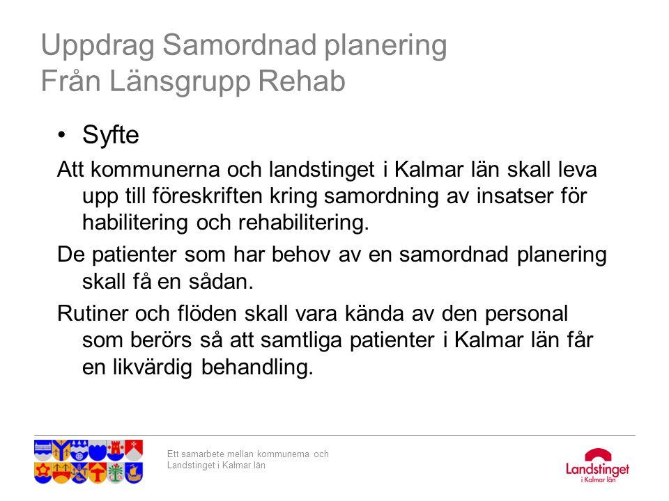 Ett samarbete mellan kommunerna och Landstinget i Kalmar län Uppdrag Samordnad planering Från Länsgrupp Rehab Syfte Att kommunerna och landstinget i K