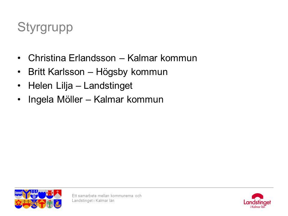 Ett samarbete mellan kommunerna och Landstinget i Kalmar län Styrgrupp Christina Erlandsson – Kalmar kommun Britt Karlsson – Högsby kommun Helen Lilja