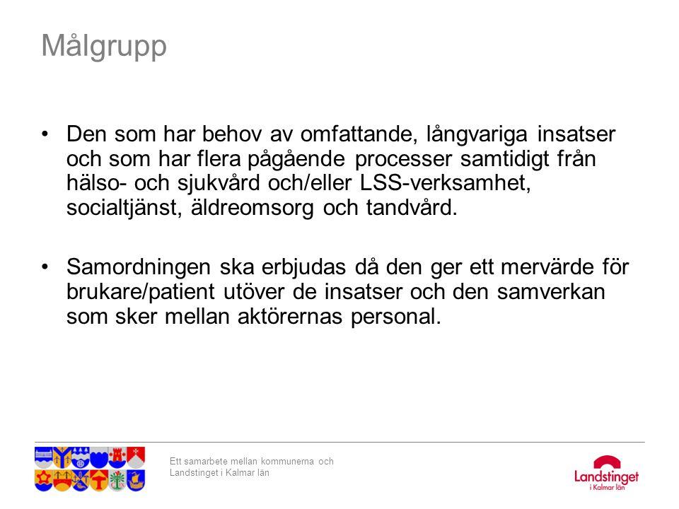 Ett samarbete mellan kommunerna och Landstinget i Kalmar län Exempel på patient i behov av samordningsplan: Peter 55 år Stroke: rullstol och rollator.