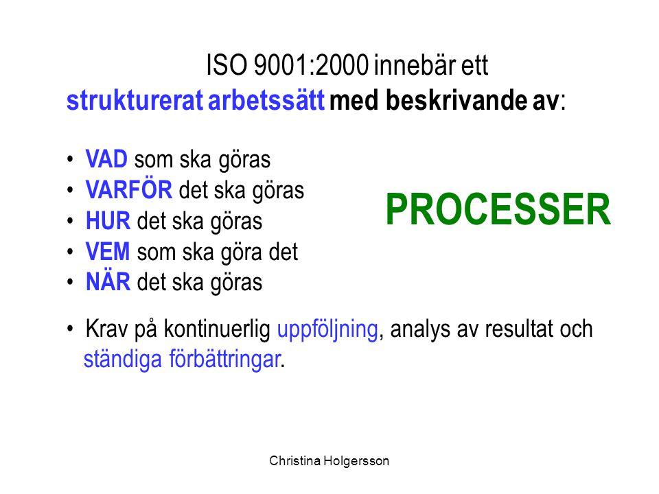 Christina Holgersson ISO 9001:2000 innebär ett strukturerat arbetssätt med beskrivande av : VAD som ska göras VARFÖR det ska göras HUR det ska göras V