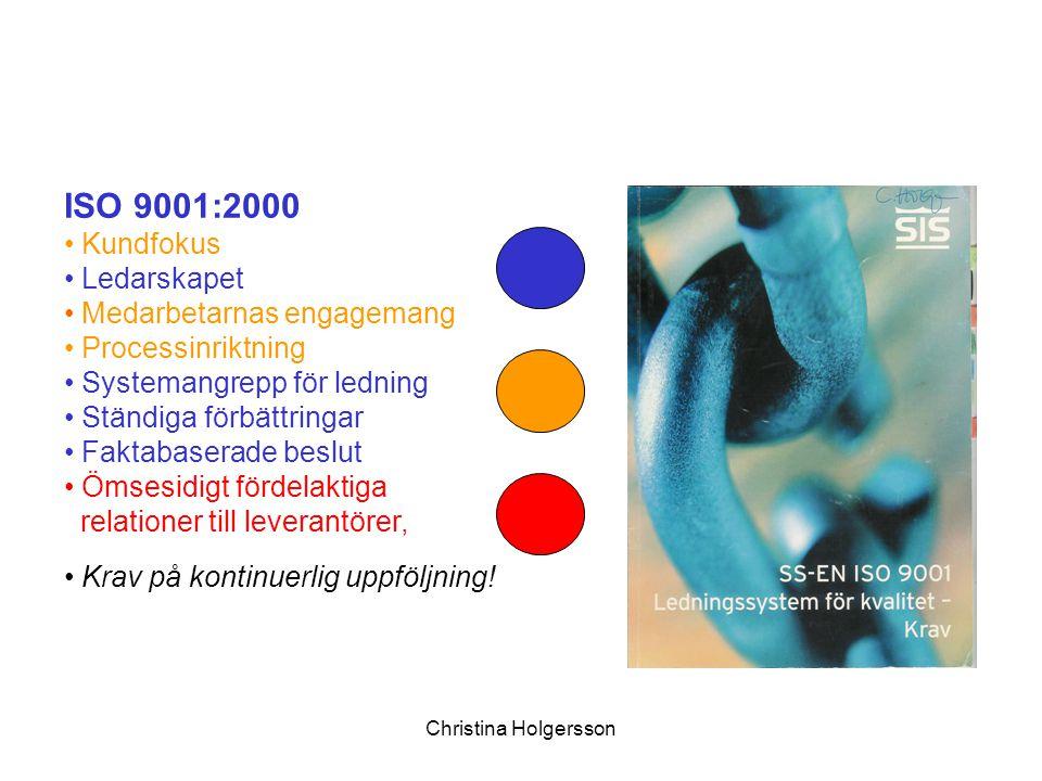 Christina Holgersson ISO 9001:2000 Kundfokus Ledarskapet Medarbetarnas engagemang Processinriktning Systemangrepp för ledning Ständiga förbättringar F