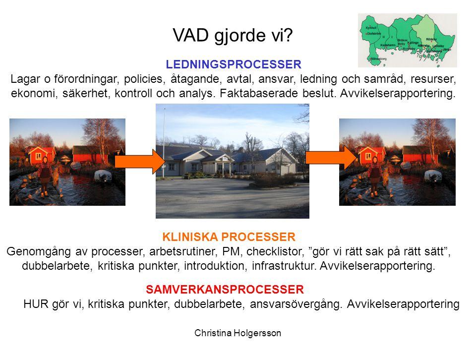 Christina Holgersson LEDNINGSPROCESSER Lagar o förordningar, policies, åtagande, avtal, ansvar, ledning och samråd, resurser, ekonomi, säkerhet, kontr
