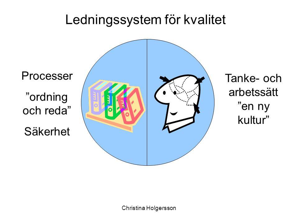 """Christina Holgersson Tanke- och arbetssätt """"en ny kultur"""" Processer """"ordning och reda"""" Säkerhet Ledningssystem för kvalitet"""