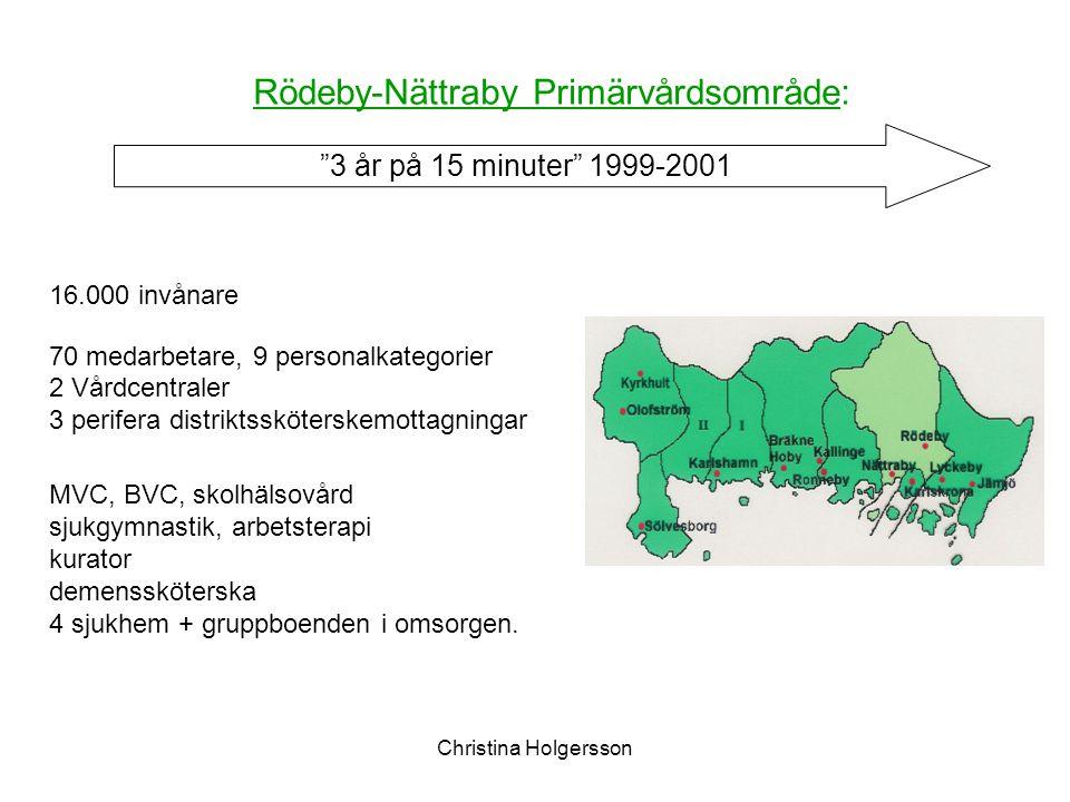 Christina Holgersson 16.000 invånare 70 medarbetare, 9 personalkategorier 2 Vårdcentraler 3 perifera distriktssköterskemottagningar MVC, BVC, skolhäls