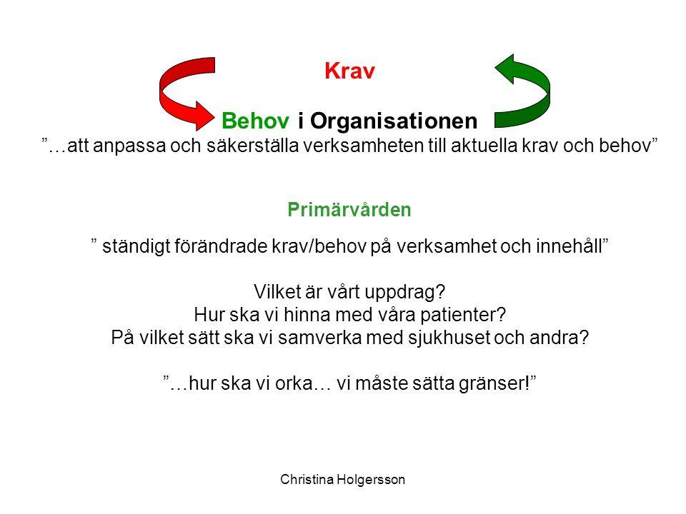 """Christina Holgersson Krav Behov i Organisationen """"…att anpassa och säkerställa verksamheten till aktuella krav och behov"""" Primärvården """" ständigt förä"""