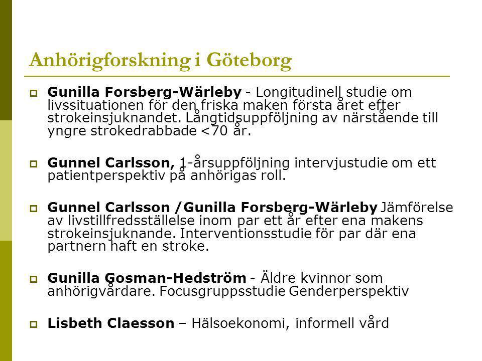 Anhörigforskning i Göteborg  Gunilla Forsberg-Wärleby - Longitudinell studie om livssituationen för den friska maken första året efter strokeinsjuknandet.
