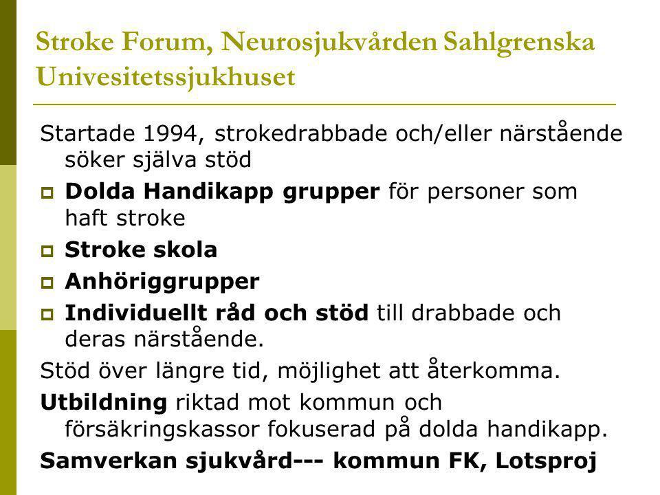 Stroke Forum, Neurosjukvården Sahlgrenska Univesitetssjukhuset Startade 1994, strokedrabbade och/eller närstående söker själva stöd  Dolda Handikapp grupper för personer som haft stroke  Stroke skola  Anhöriggrupper  Individuellt råd och stöd till drabbade och deras närstående.