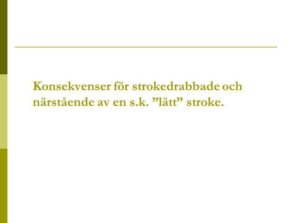 Konsekvenser för strokedrabbade och närstående av en s.k. lätt stroke.
