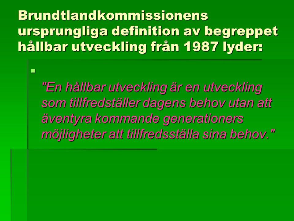 Brundtlandkommissionens ursprungliga definition av begreppet hållbar utveckling från 1987 lyder:  En hållbar utveckling är en utveckling som tillfredställer dagens behov utan att äventyra kommande generationers möjligheter att tillfredsställa sina behov.