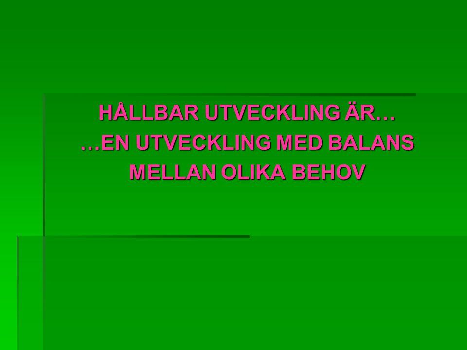 HÅLLBAR UTVECKLING ÄR… …EN UTVECKLING MED BALANS MELLAN OLIKA BEHOV